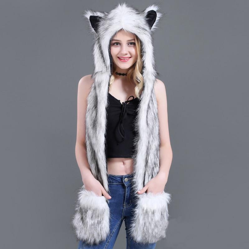 SH001 Women Winter Hat Earflap Cap Warm Animal Faux Fur Hat Beanie Hoodie Gloves Cap Women Scarf Hat Glove Set Fluffy Plush Cap