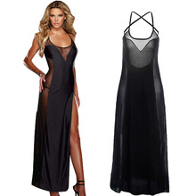 Plus Size S-6XL Lace Up Black Backless Evening Gown Sleepwear Chemise Sexy Lingerie Long Badydoll Dress Transparent Nightdress(China)