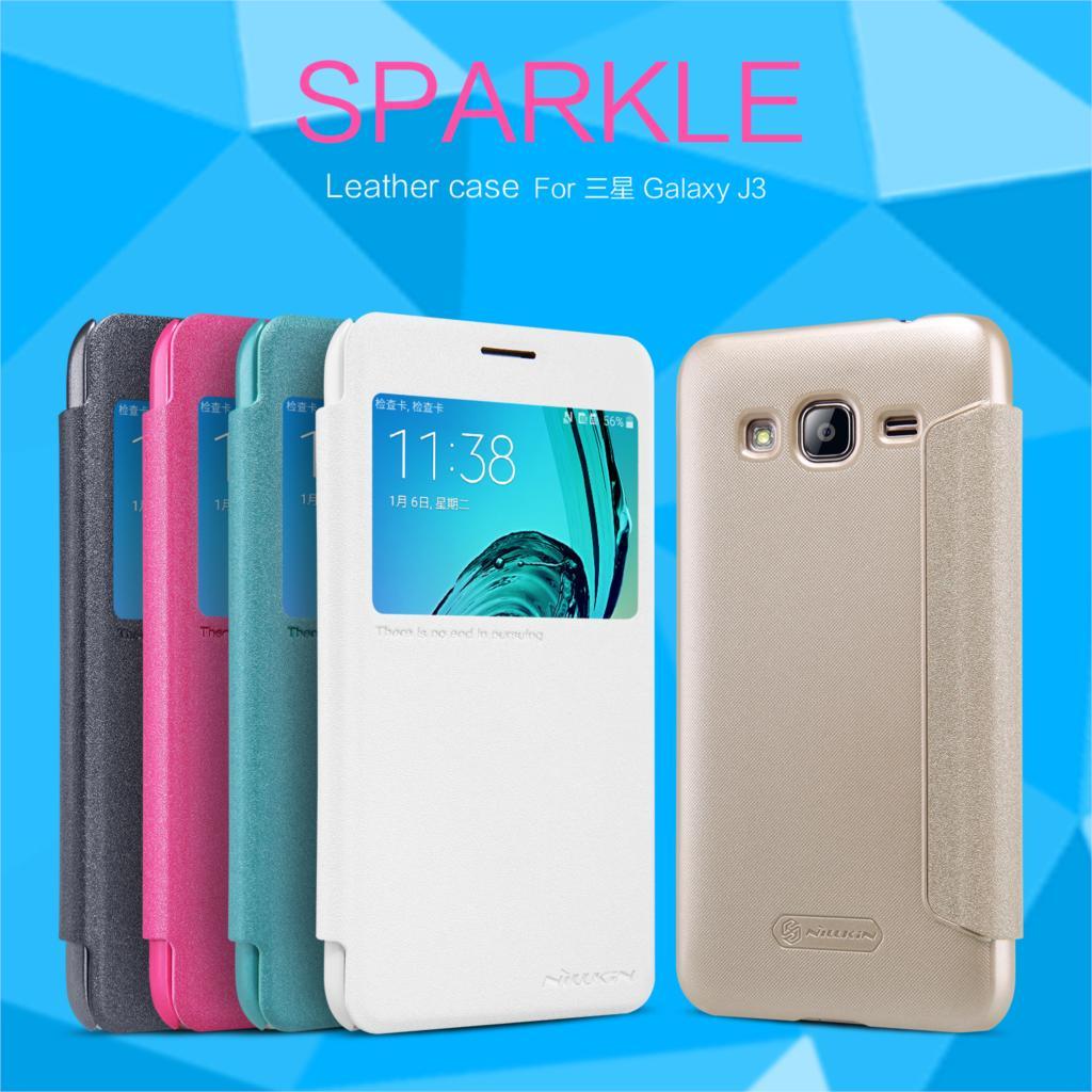 Flip Case For Samsung Galaxy J3 NILLKIN Sparkle Series PU Leather Cover sFor Samsung J3 Case