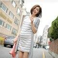 Primavera e verão maternidade roupas emenda dress stripe dress mulher grávida meia manga grande tamanho-falso de duas peças outfit