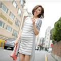 spring and summer maternity clothes splicing dress Large size stripe dress pregnant woman Half sleeve false two-piece outfit