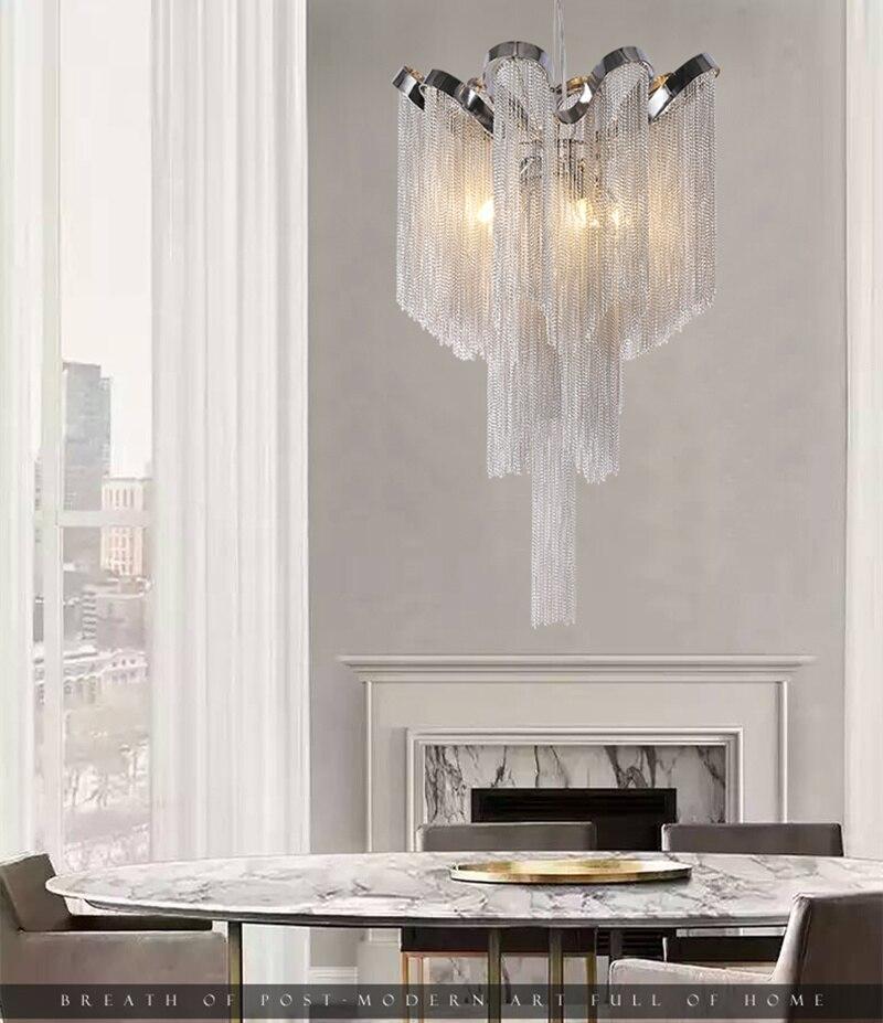 Нордическая кисточка, цепочка, подвеска светильник для дома luces led decoracion серебристый подвесной светильник с бахромой