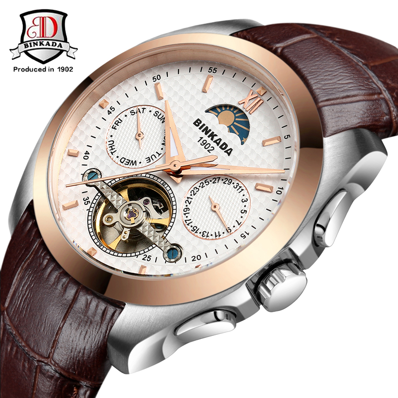 ФОТО Luxury Fashion Brand BINKADA Automatic Tourbillon Watches Fashion New Men's Watches Auto Mechanical Watch Sapphire Glass