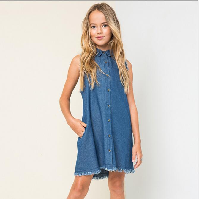 Christmas Junior Wash Blue Denim Dresses Teenager Fashion Sleeveless Dress 2016 Big Baby Girls Autumn Winter Clothing