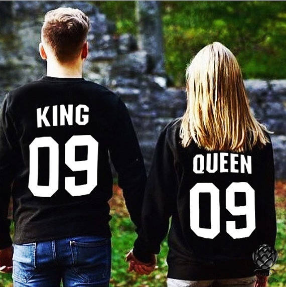 King And Queen Matching Sweatshirt Long Sleeve Pullover Jumper
