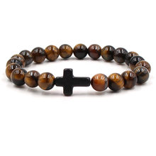 New Black Tiger Eye Cross Bracelet Bracelet Charm Natural Stone Charm Bracelet Ladies/Men's Pulse Jewelry(China)