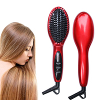 Newest Electric Hair Straightening Comb Ceramic Straightener Brush Flat Iron LCD Display Fast Beauty Hair Straight