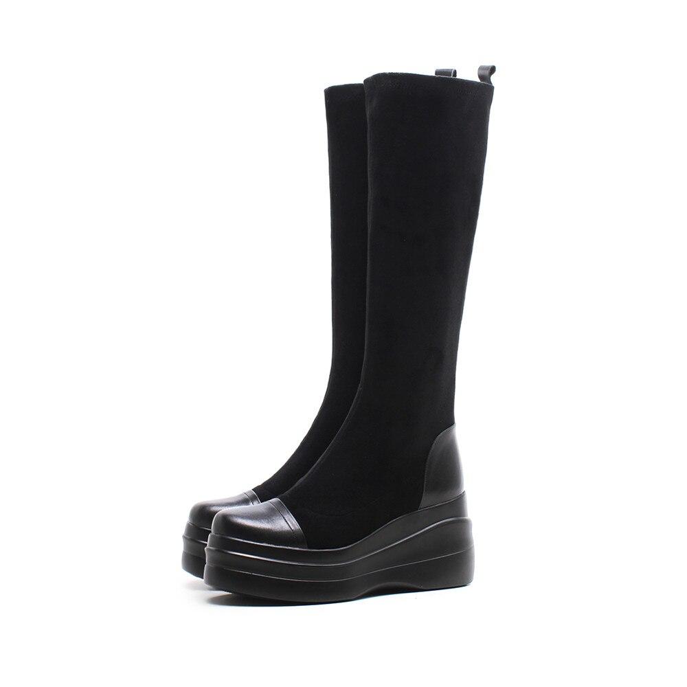 Dames Chaussures Tissu Stretch Mode Rond Cuir Vache Asumer De En Bout forme D'hiver Bottes Haute Noir Plate Genou Nouvelles Coins nqSY6wX6