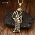 Mens Necklaces Vintage Punk Skull Death Grim Reaper Skull Scythe Pendant Necklace Halloween Jewelry Gift Gold Plated 24""