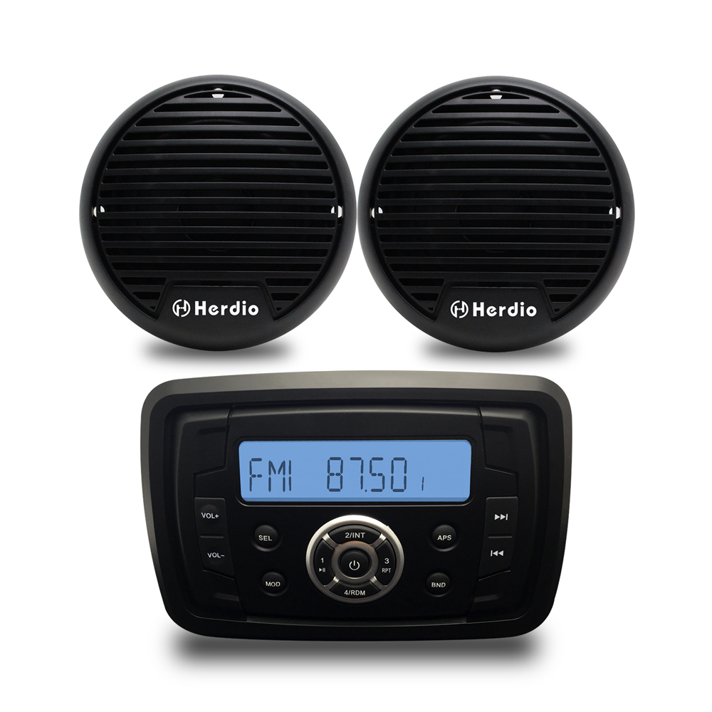 4 2 Way Waterproof Speakers Marine Bluetooth Audio Radio FM AM MP3 Music Stereo Player For