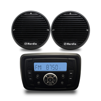 """4"""" 2 Way Waterproof Speakers Marine Bluetooth Audio Radio FM AM MP3 Music Stereo Player For ATVUTV Car Outdoor Boat Accessories"""
