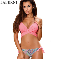 JABERNI Summer Sexy Swimwear Cross Swimsuit Women Push Up Bikini Set Brazilian Vintage Print Bathing Suit