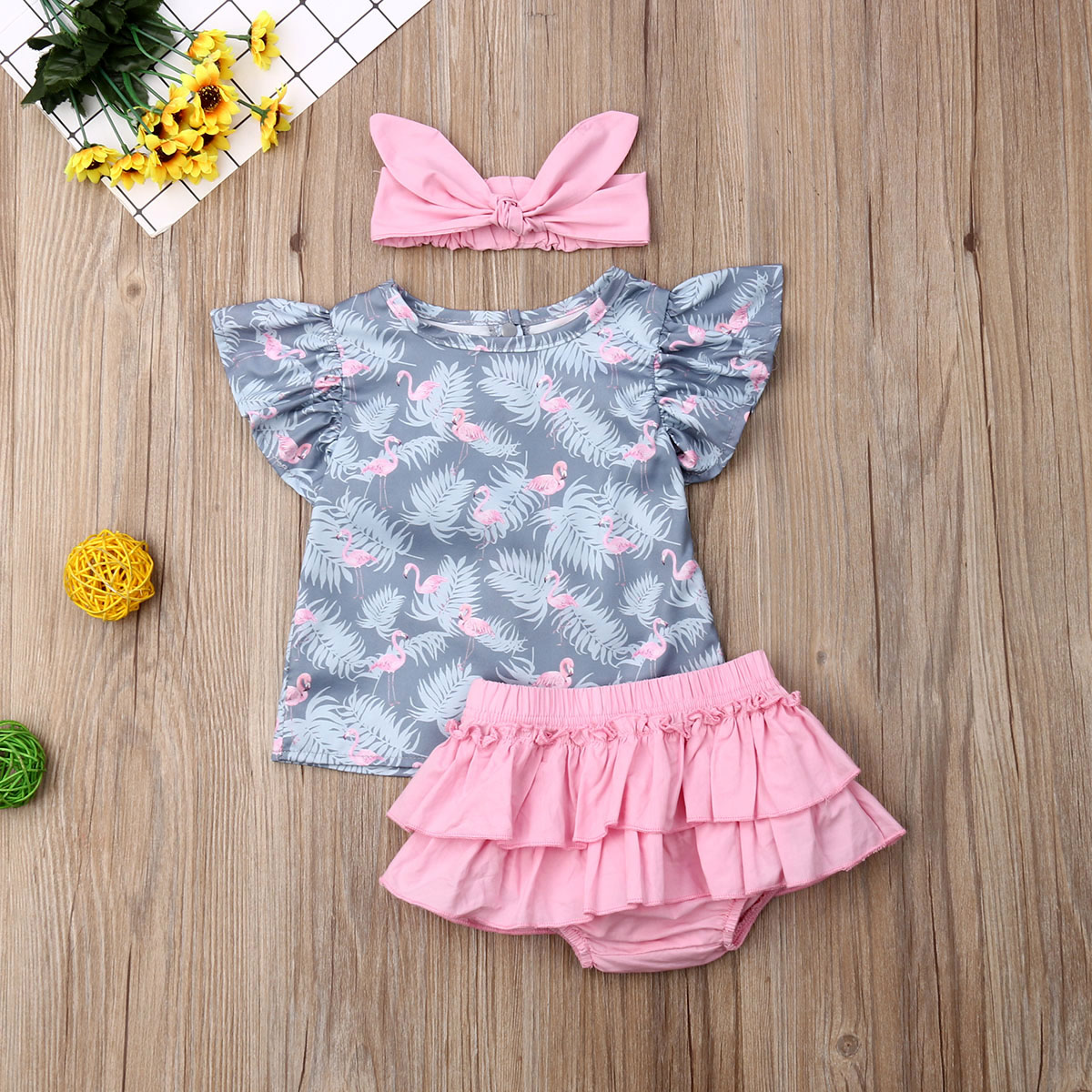 Pudcoco Newborn Baby Girl Clothes Fly Sleeve Flamingo Print Tops Ruffle Short Pants Headband 3Pcs Outfits Clothes Summer