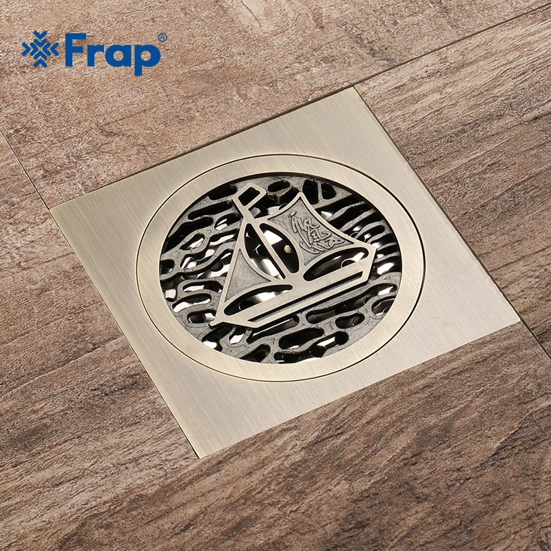 Frap New Bronze Shower Drain Pattern Brass Cover Carved Art Euro Floor Drains Antique Brass Shower Deodorant Floor Drain Y38085 flowers butterflies pattern waterproof shower curtain