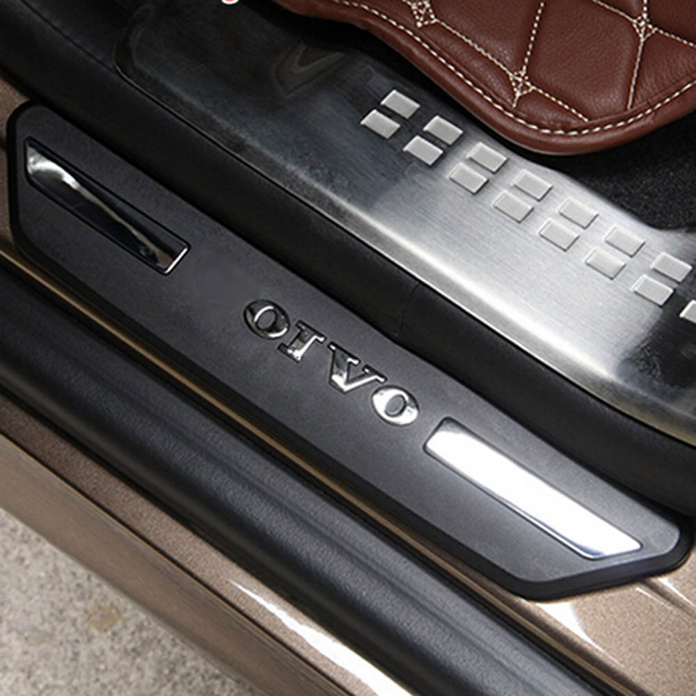 back row door welcome pedal scuff plates threshold strip guard protective stikcer cover for volvo XC60 Exterior Accessories