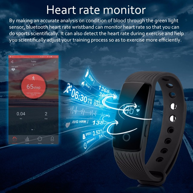 Heart Rate Smart Bracelet Watch Heart Rate Monitor Smart Band Wireless Fitness Tracker Wristband for Android iOS