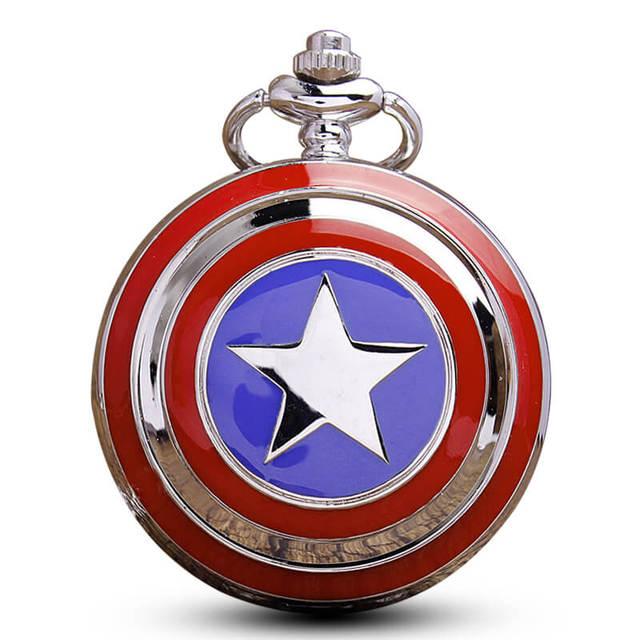 Captain America Pocket Watch Chains Necklace Pendant Modern For Women Men Pokcet