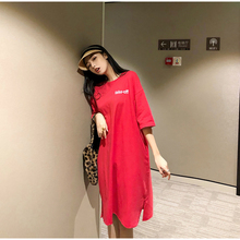 EAD Loose Short Sleeve Casual T-shirt Dress Harajuku Style Letter Print Women Summer Dresses Chic Fashion Femme Cotton Robe