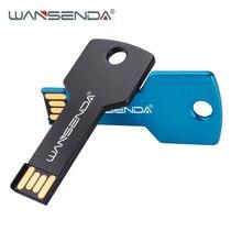 WANSENDA Metal KEY Shape USB Flash Drive Waterproof Pen Drive 4gb 8gb 16gb 32gb External Storage USB Memory Stick Thumbdrive