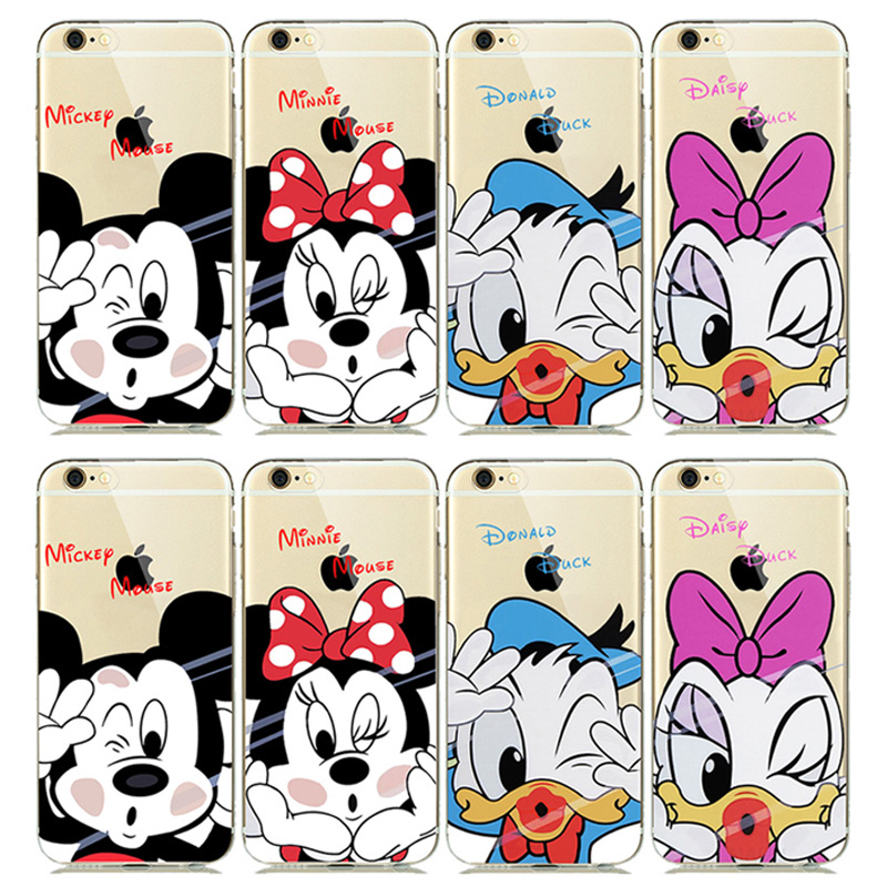 ULTRA Slim Fitting Skin Soft Clear Rubber Silicone Cover for iphone5 6 6s 7 Plus Cute Mickey Minnie Mouse Donald Daisy Duck Case