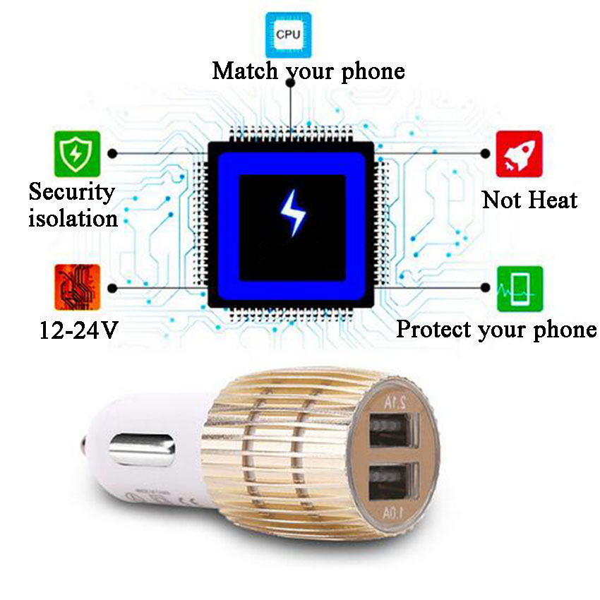 Car Charger Blue Light Alloy Cell Mobile Phone Charger 5V 1A 2.1A Dual USB Quick Charge Adapter For iPhone ios Android Phone (7)