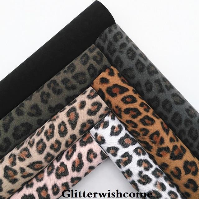 Glitterwishcome 21X29 CM A4 Tamanho Vinil Para Arcos Leopard Impresso em Folhas para Arcos de Couro da Camurça Do Falso, GM080A
