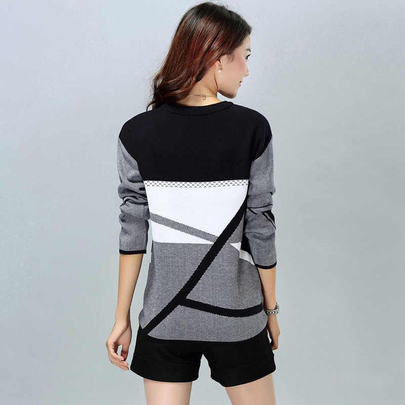 XJXKS Новинка 2019 женские свитера и пуловеры; круглый вырез с длинными рукавами свитер пуловер для леди; геометрический вязаный свитер