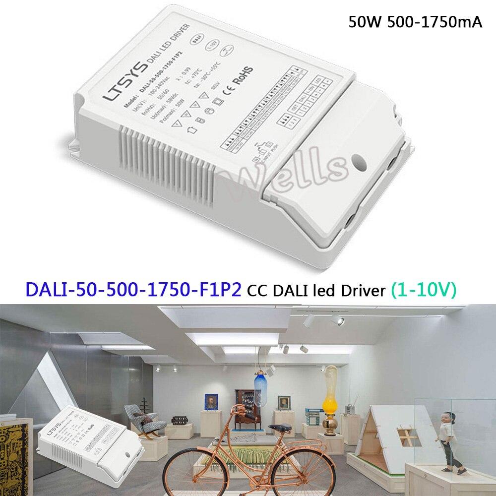 50W 500-1750mA CC DALI Driver;DALI-50-500-1750-F1P2;CC led Dimming Driver;AC100-240V input;0-10V 1-10V Push DIM led power недорго, оригинальная цена
