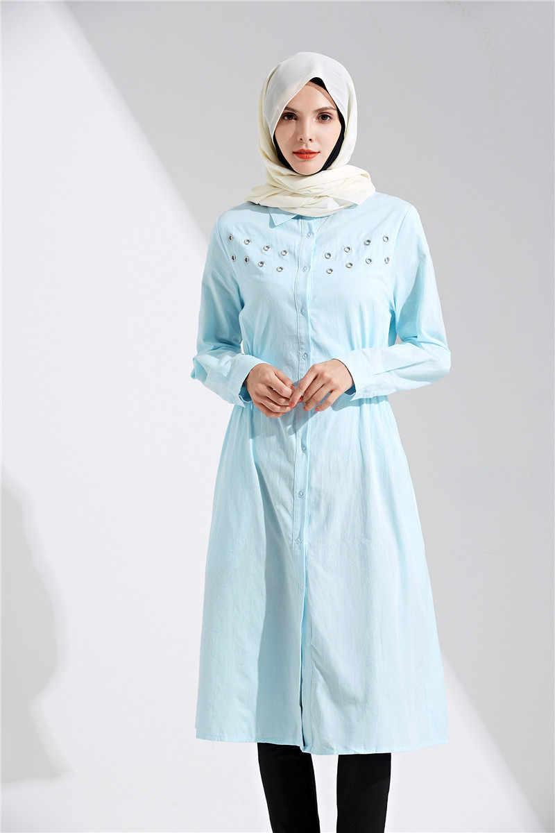 Turquía árabe Tops largos Turquie ropa islámica saudí Turkiye musulmán Tops camisa azul 2019 nuevo estilo de manga larga