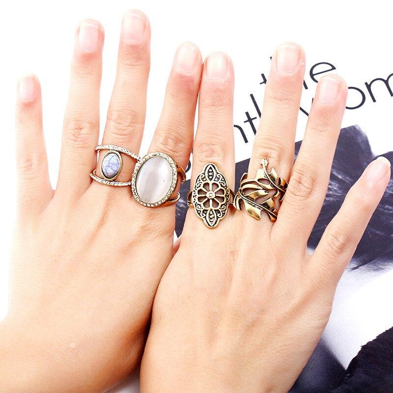2017 Bohemian Women 4Pcs/Sets Vintage Stone Finger Ring Set Antique Gold Color Plain Circle Knuckle Midi Ring Set Jewelry