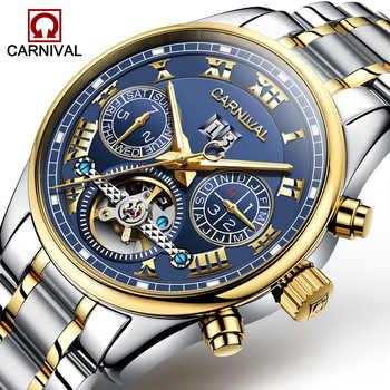 Karneval Tourbillon Automatische Uhr Männer Luxus Gold Mechanische Uhren Sapphire Kristall 30 M Wasserdichte Männliche Uhr reloj