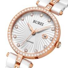 Burei señora de la marca de cristal de zafiro de cerámica cuarzo de la venda de reloj relojes de las mujeres de moda a prueba de agua con las primas de paquete 3030