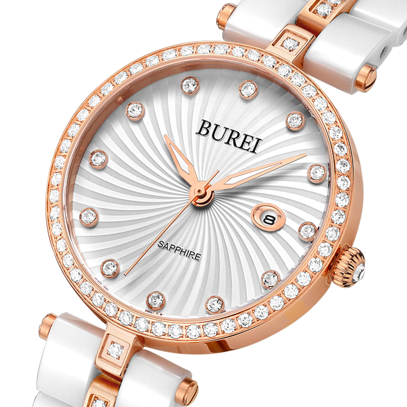Prix pour Burei marque dame saphir cristal céramique bande quartz montre étanche mode femmes montres avec primes paquet 3030
