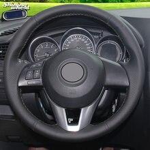 Блестящий черный чехол рулевого колеса автомобиля из натуральной
