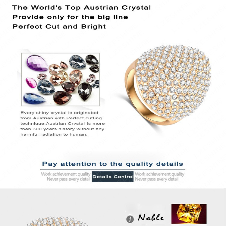 LZESHINE Custom Rings For Women Gold Plate Pave Full Rhinestone Austrian Crystals SWA Elements Party Ring Jewelry Ri-HQ0235-b 5