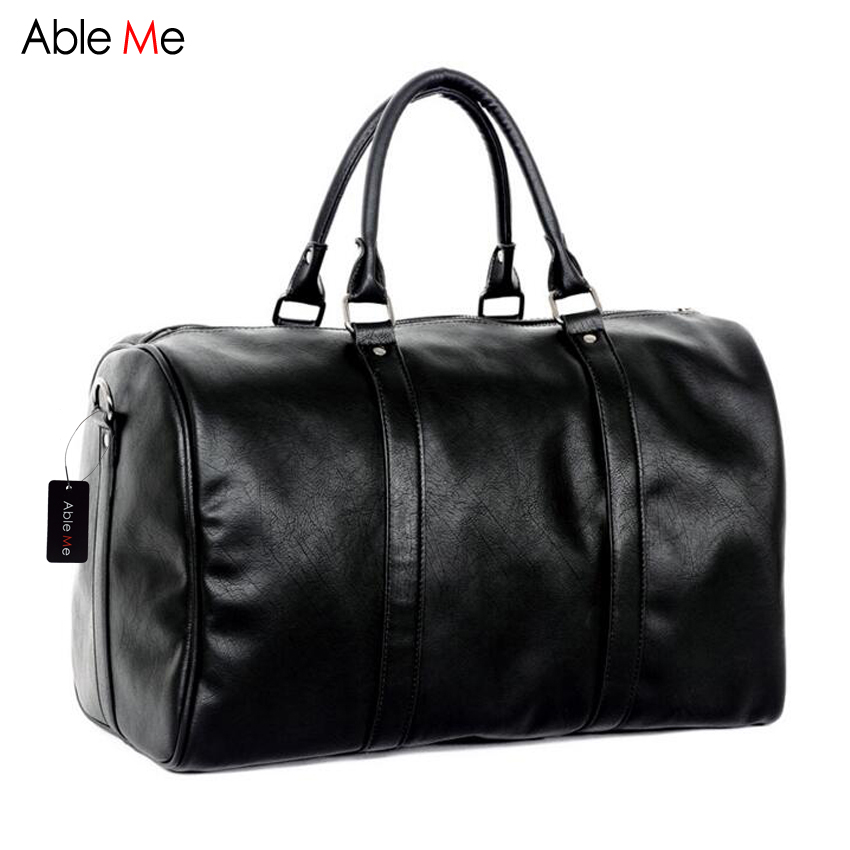 ФОТО AbleMe New Leisure Men Travel Bags Multi-function Male Handbag High Quality PU Leather Duffle Tote Bag Men Luggage Travel Bags