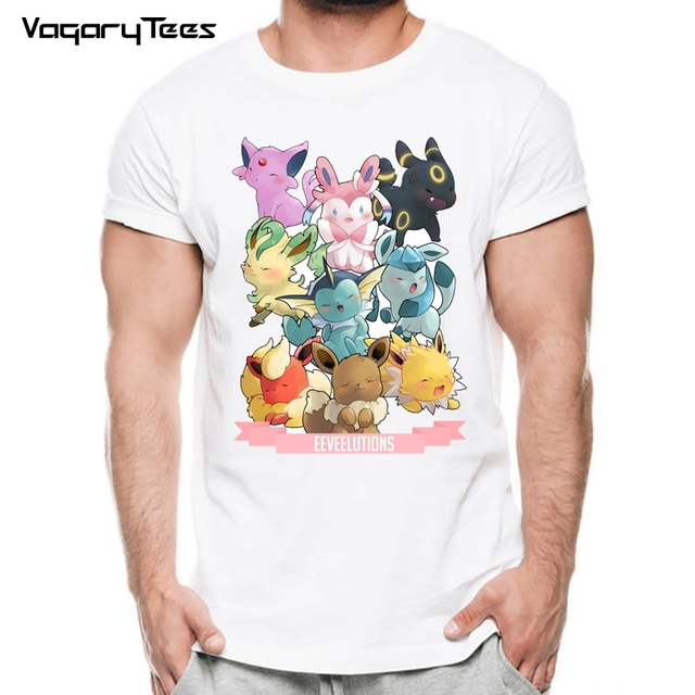 87df864d Pokemon Go Men T-shirt Fashion Stitch Tops Pokemon Eevee Evolution Printed  t shirts Short
