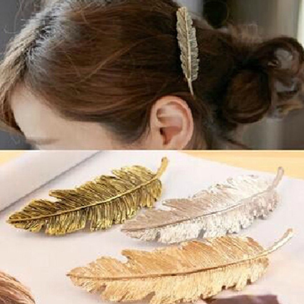Ponytail Barrettes Metal Leaf Hair Clip Girls Vintage Hairpin Princess Women Hair Accessories Barrettes para el pelo hairpins ...