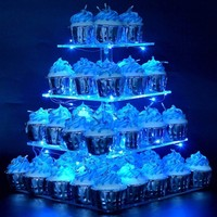 4 Tiers Pastry Stand Acrylic Square Cupcake Display Stand with LED String Lights Dessert Tree Tower for Birthday/Wedding Party