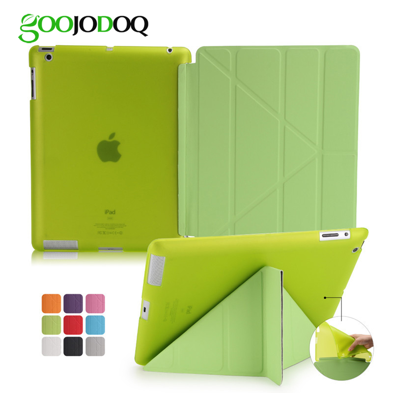 Case For iPad 2 / iPad 3 / iPad 4 Case Silicone Soft Back PU Leather Smart Cover for Apple iPad 4 Case Multi-angle Stand