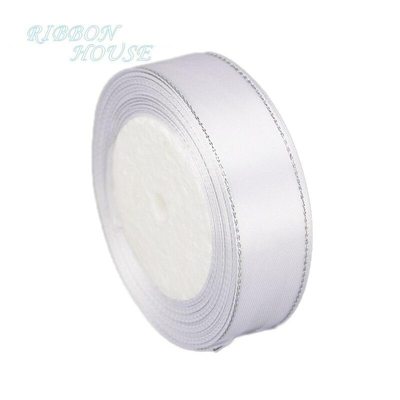 (25 ярдов/рулон) белый серебро атласная лента для оторочки оптовая Рождественский подарок ленты (6/10/20/25/40 мм)