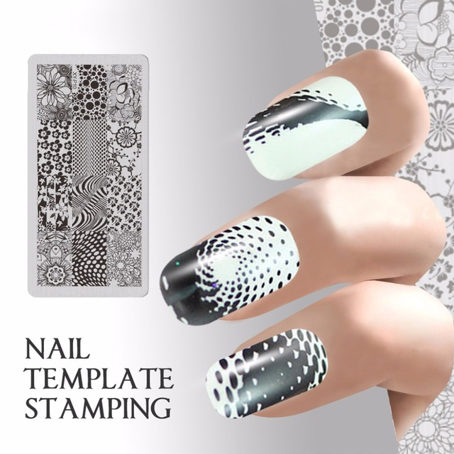 Quadrate DIY Nail Template Stamping Plate Swirl For Nails Art Stamp ...
