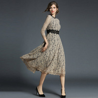 Spring New Hollow Lace Dresses for Women Mid Calf Chic Floral Crochet Vestido Slim Office Party Long Dress Patchwork Casual Wear