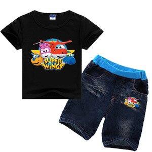 Image 3 - Ensemble de vêtements dété en denim, manches courtes, pour filles de 2 8 ans, ensemble de Jeans en Super ailes, pour enfants, pour garçons de 2 8 ans, 2019