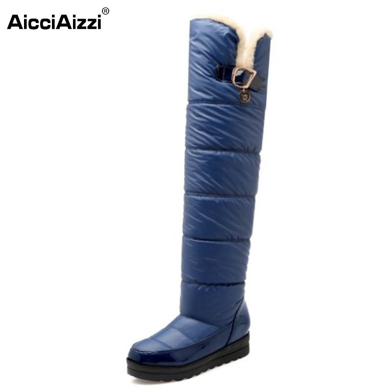 Snow Boots Women New Arrival  Keep Warm Fashion Platform Fur Over Knee Boots Warm Winter Long Botas For Woman Shoes Size 34-43
