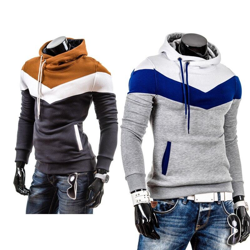 새로운 패션 가을 겨울 남성 후드 패치 워크 색상 캐주얼 남성 스커트 후드 칼라 남성 자 켓 코트