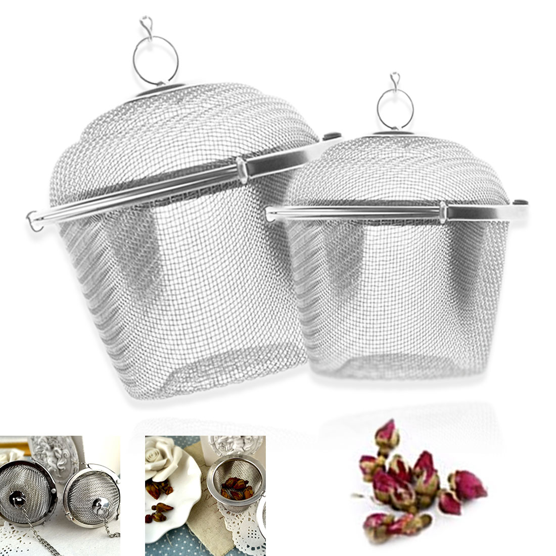 45/55 Stainless Steel Tea Infuser Locking Spice Tea Strainer Reusable Mesh Tea Ball Filter Loose Tea Spice Strainer