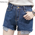 2017 Classic Jeans Female High Waist Denim Shorts Plus Size Cotton Shorts Sexy Ladies Clothes Color Light Blue/Dark Blue/Black