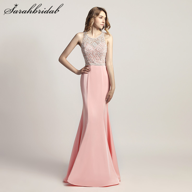 Charming Elegant Mermaid Long Evening Dresses Satin pearls Back Zip O Neck Sleeveless Prom Party Gown