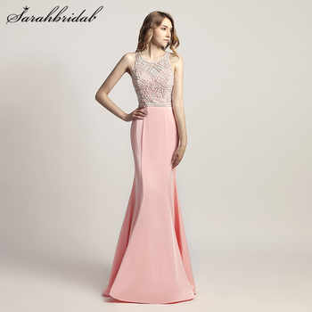 Charming Elegant Mermaid Long Evening Dresses Satin pearls Back Zip O-Neck Sleeveless Prom Party Gown Beading Floor Length LX420 - DISCOUNT ITEM  5% OFF All Category